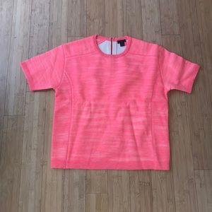 J Crew Pink Box T-shirt Merino Wool Linen Blend